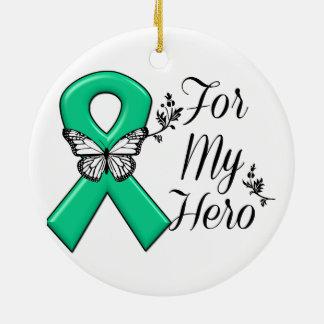 Cinta del verde esmeralda para mi héroe adorno navideño redondo de cerámica