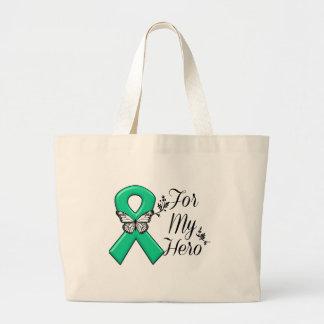 Cinta del verde esmeralda para mi héroe bolsa de tela grande