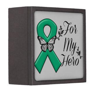 Cinta del verde esmeralda para mi héroe cajas de joyas de calidad