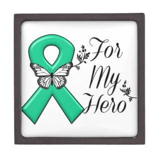 Cinta del verde esmeralda para mi héroe cajas de recuerdo de calidad