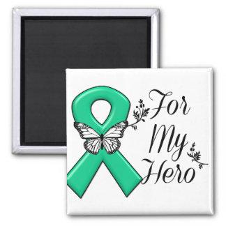 Cinta del verde esmeralda para mi héroe imán cuadrado