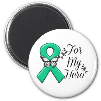 Cinta del verde esmeralda para mi héroe imán redondo 5 cm