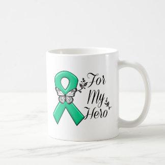 Cinta del verde esmeralda para mi héroe taza de café