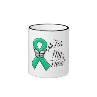 Cinta del verde esmeralda para mi héroe taza de dos colores