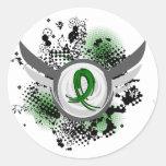 Cinta del verde esmeralda y cáncer de hígado de la pegatina redonda