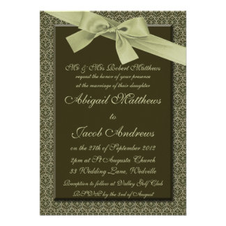 Cinta del verde verde oliva - invitación del boda