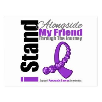 Cinta del viaje para el cáncer pancreático (amigo) tarjeta postal