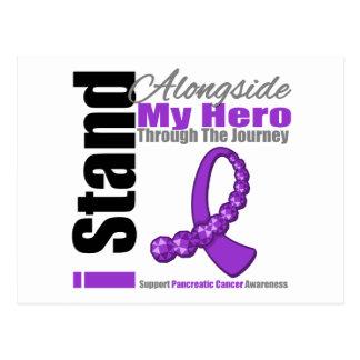 Cinta del viaje para el cáncer pancreático (héroe) tarjeta postal
