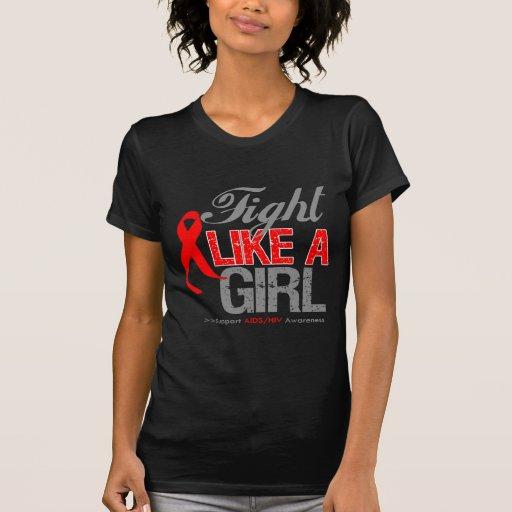 Cinta del VIH del SIDA - lucha como un chica Camisetas