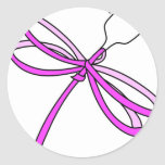 Cinta Dragonfly1 del cáncer de pecho Pegatina Redonda