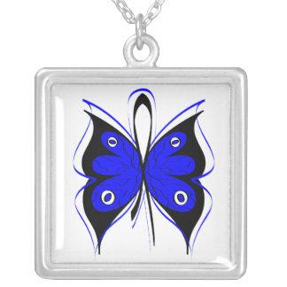 Cinta elegante de la conciencia de la mariposa del collar plateado