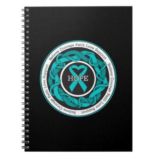 Cinta entrelazada esperanza del cáncer ovárico cuadernos