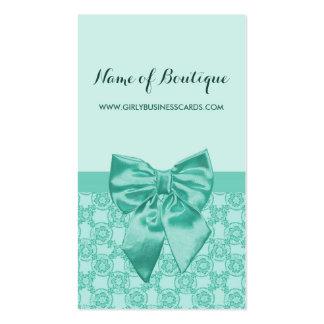 Cinta femenina de la verde menta del modelo tarjetas de visita