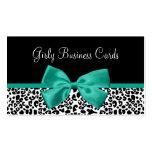 Cinta femenina del verde esmeralda del estampado tarjeta de visita