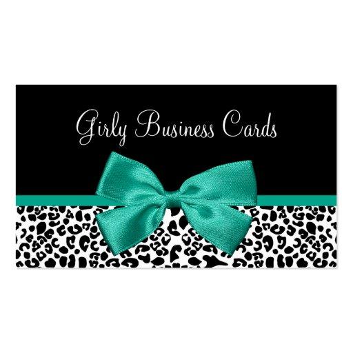 Cinta femenina del verde esmeralda del estampado tarjetas de visita