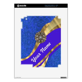 Cinta floral azul del damasco y del oro iPad 2 calcomanías