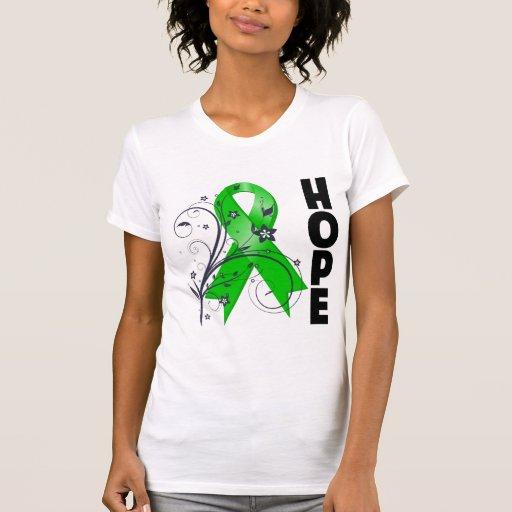 Cinta floral de la esperanza de la lesión cerebral tee shirts
