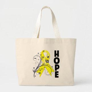 Cinta floral de la esperanza de la prevención del  bolsa tela grande