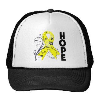 Cinta floral de la esperanza del cáncer del gorro