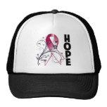 Cinta floral de la esperanza del cáncer principal  gorros