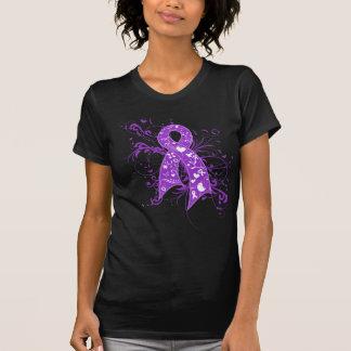 Cinta floral de los remolinos de la fibrosis quíst camisetas