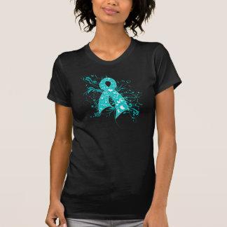 Cinta floral de los remolinos del cáncer de cuello camisetas