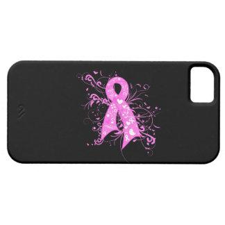 Cinta floral de los remolinos del cáncer de pecho iPhone 5 funda