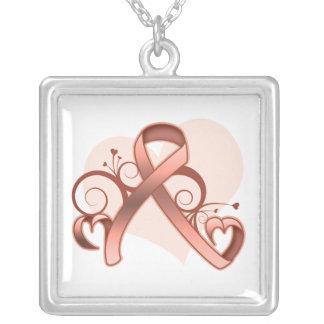Cinta floral del corazón del cáncer uterino colgante cuadrado