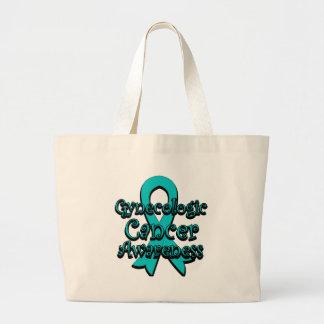 Cinta ginecológica de la conciencia del cáncer bolsa tela grande