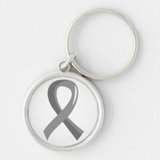 Cinta gris 3 del cáncer de cerebro llaveros personalizados