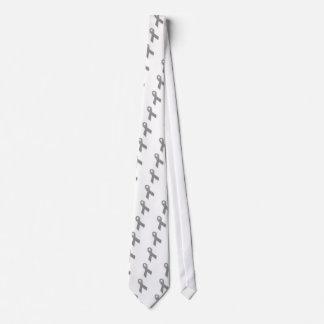 Cinta gris de la conciencia de la declaración corbata