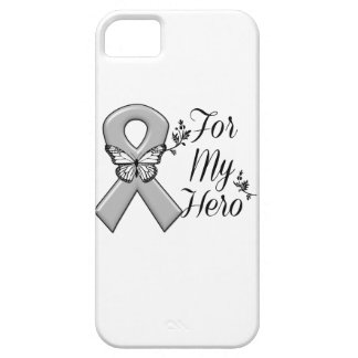 Cinta gris de la conciencia para mi héroe funda para iPhone 5 barely there