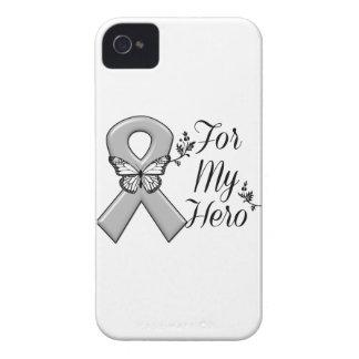 Cinta gris de la conciencia para mi héroe iPhone 4 cárcasas