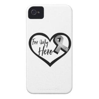 Cinta gris de la conciencia para mi héroe iPhone 4 Case-Mate cobertura