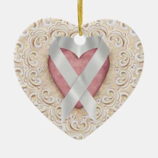 Cinta gris del corazón - SENIOR del cáncer de Adorno De Cerámica En Forma De Corazón