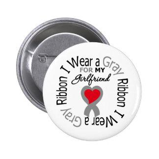 Cinta gris del desgaste de la diabetes I para mi n Pin Redondo De 2 Pulgadas