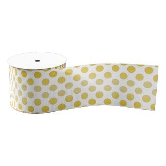 Cinta grogrén amarilla de la tela de la polca Dot2 Lazo De Tela Gruesa