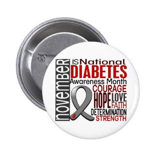 Cinta I2.3 del mes de la conciencia de la diabetes Pin Redondo De 2 Pulgadas