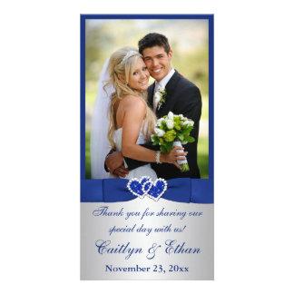 CINTA IMPRESA azul, tarjeta de la foto de la bodas Tarjeta Fotográfica