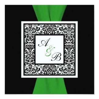 """CINTA IMPRESA verde negro del damasco, blanco Invitación 5.25"""" X 5.25"""""""