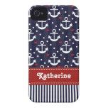 Cinta intrépida náutica del rojo de la caja de Bla iPhone 4 Case-Mate Coberturas