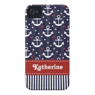 Cinta intrépida náutica del rojo de la caja de iPhone 4 Case-Mate coberturas