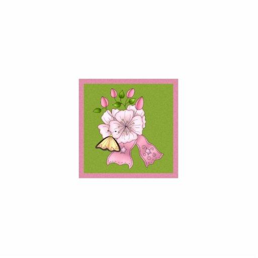 Cinta, mariposa y flores rosadas bonitas adorno fotoescultura