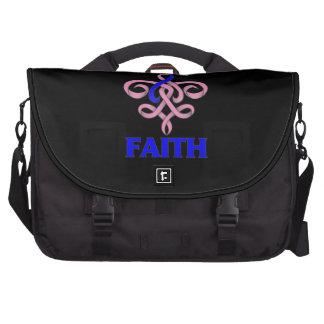 Cinta masculina de la flor de lis de la fe del cán bolsas de ordenador