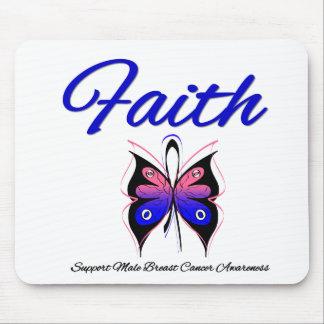 Cinta masculina de la mariposa de la fe del cáncer tapete de ratones