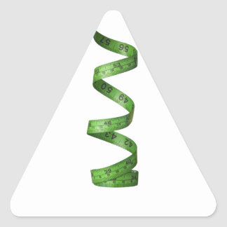 Cinta métrica verde el torcer en espiral pegatina triangular