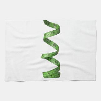 Cinta métrica verde el torcer en espiral toalla de mano