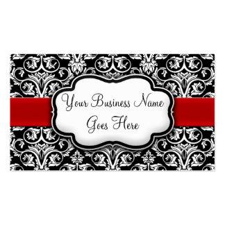 Cinta negra/blanca elegante del rojo del damasco tarjetas de visita