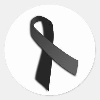 Cinta negra de la conciencia de MIA Rememrance del Pegatina Redonda