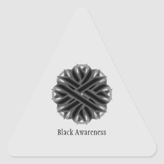 Cinta negra de la flor pegatina triangular